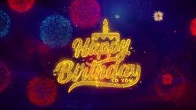 Feliz cumpleaños saludo de partículas de la chispa del texto en los fuegos artificiales coloreados