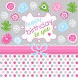 ¡Feliz cumpleaños! Tarjeta de felicitación, backgro de la celebración Foto de archivo
