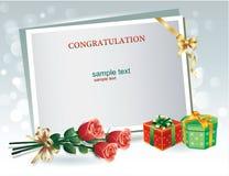 Feliz cumpleaños, tarjeta de felicitación con las cajas de regalo, flores y tablero de mensajes stock de ilustración
