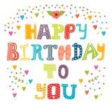 Feliz cumpleaños Tarjeta de felicitación linda Imagen de archivo libre de regalías