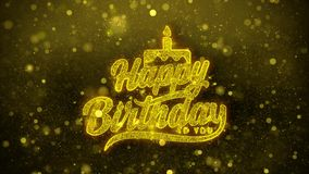 Feliz cumpleaños tarjeta de felicitaciones de los deseos, invitación, fuego artificial de la celebración ilustración del vector