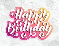 Feliz cumpleaños Tarjeta de letras dibujada mano Ejemplo moderno del vector de la caligrafía del cepillo Texto brillante en fondo Imagen de archivo libre de regalías