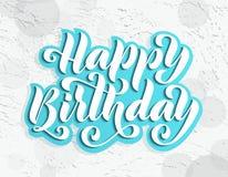 Feliz cumpleaños Tarjeta de letras dibujada mano Ejemplo moderno del vector de la caligrafía del cepillo Texto brillante en fondo Foto de archivo