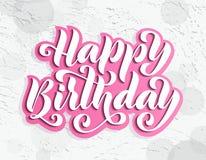 Feliz cumpleaños Tarjeta de letras dibujada mano Ejemplo moderno del vector de la caligrafía del cepillo Texto brillante en fondo Imagenes de archivo