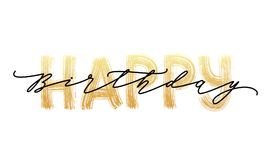 Feliz cumpleaños Tarjeta de letras dibujada mano Ejemplo moderno del vector de la caligrafía del cepillo Texto del oro Imagenes de archivo