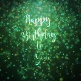 Feliz cumpleaños verde de la tarjeta Fotos de archivo libres de regalías