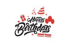 Feliz cumplea?os Poner letras al ejemplo con los globos y los regalos Dise?o dibujado mano de la impresi?n de la camiseta de la i stock de ilustración