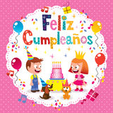 Feliz Cumpleanos - χρόνια πολλά στην ισπανική κάρτα παιδιών Στοκ Εικόνα