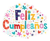 Feliz Cumpleanos -在西班牙文本的生日快乐 图库摄影