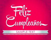 Feliz Cumpleanos -生日快乐西班牙人文本 免版税库存照片