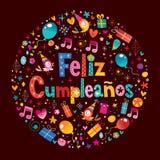 Feliz Cumpleanos - buon compleanno nella cartolina d'auguri spagnola Fotografia Stock Libera da Diritti