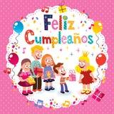 Feliz Cumpleanos - feliz aniversario no cartão espanhol das crianças Fotos de Stock Royalty Free