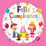 Feliz Cumpleanos - feliz aniversario no cartão espanhol das crianças Imagem de Stock