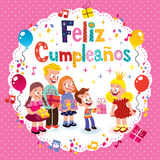 Feliz Cumpleanos - feliz cumpleaños en tarjeta española de los niños Fotos de archivo libres de regalías