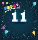 Feliz Cumpleanos 11 - Gelukkige Verjaardag 11 in Spaanse taal - Groetkaart met witte kaarsen Stock Foto's