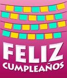 Feliz Cumpleanos - gelukkige verjaardags Spaanse tekst vector illustratie