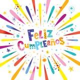 Feliz Cumpleanos Happy Birthday dans l'Espagnol Photographie stock