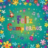 Feliz Cumpleanos Happy Birthday dans l'Espagnol Images libres de droits