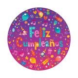 Feliz Cumpleanos Happy Birthday dans l'Espagnol Photo stock