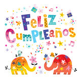 Feliz Cumpleanos Happy Birthday dans la carte de voeux espagnole Image libre de droits