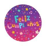 Feliz Cumpleanos Happy Birthday dans la carte espagnole Images stock