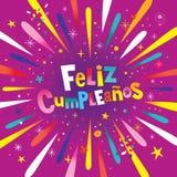 Feliz Cumpleanos Happy Birthday dans la carte espagnole Photos libres de droits