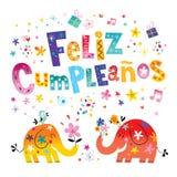 Feliz Cumpleanos Happy Birthday en tarjeta de felicitación española Imagen de archivo libre de regalías