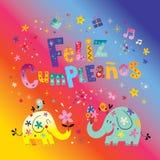 Feliz Cumpleanos Happy Birthday en tarjeta de felicitación española Foto de archivo libre de regalías