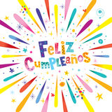 Feliz Cumpleanos Happy Birthday nello Spagnolo Fotografia Stock