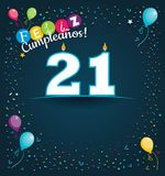 Feliz Cumpleanos 21 - Happy Birthday 21 in Spanish language - Greeting card with white candles. In the form of number with background of balloons and confetti Stock Photography