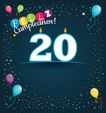 Feliz Cumpleanos 20 - Happy Birthday 20 in Spanish language - Greeting card with white candles. In the form of number with background of balloons and confetti Royalty Free Stock Image