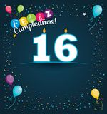 Feliz Cumpleanos 16 - Happy Birthday 16 in Spanish language - Greeting card with white candles. In the form of number with background of balloons and confetti Royalty Free Stock Images