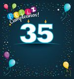 Feliz Cumpleanos 35 - Happy Birthday 35 in Spanish language - Greeting card with white candles. In the form of number with background of balloons and confetti Royalty Free Stock Photos