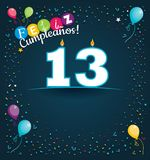 Feliz Cumpleanos 13 - Happy Birthday 13 in Spanish language - Greeting card with white candles. In the form of number with background of balloons and confetti Royalty Free Stock Image