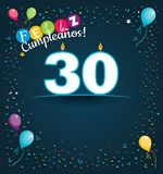 Feliz Cumpleanos 30 - Happy Birthday 30 in Spanish language - Greeting card with white candles. In the form of number with background of balloons and confetti Royalty Free Stock Photo