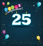 Feliz Cumpleanos 25 - Happy Birthday 25 in Spanish language - Greeting card with white candles. In the form of number with background of balloons and confetti Stock Photos