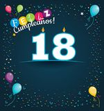 Feliz Cumpleanos 18 - Happy Birthday 18 in Spanish language - Greeting card with white candles. In the form of number with background of balloons and confetti stock illustration