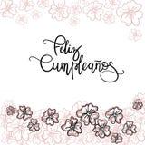 Feliz Cumpleanos Happy Birthday spanish text. Greeting Card. Modern Calligraphy. Vector Illustration royalty free illustration