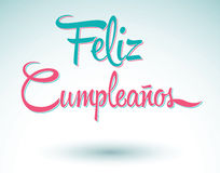 Feliz Cumpleanos - happy birthday spanish text. Vector lettering, easy edit Royalty Free Stock Image