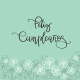 Feliz Cumpleanos Happy Birthday spanjortext Arkivfoto