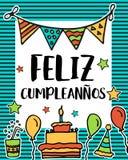 Feliz cumpleanos, lycklig födelsedag i det spanska språket, affisch vektor illustrationer
