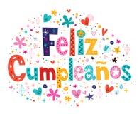 Feliz Cumpleanos - lycklig födelsedag i spansk text Arkivbild