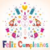 Feliz Cumpleanos - lycklig födelsedag i spanskt kort Arkivbild