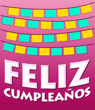 Feliz Cumpleanos - testo dello Spagnolo di buon compleanno Fotografia Stock
