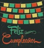 Feliz Cumpleanos - texto do espanhol do feliz aniversario Imagens de Stock