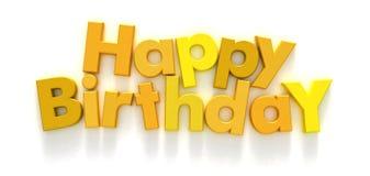 Feliz cumpleaños en cartas amarillas Imagen de archivo
