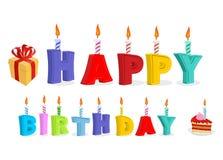 Feliz cumpleaños Letras y velas Logotipo para el día de fiesta Typograph Fotografía de archivo