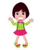 Feliz da menina do vetor e engraçado bonitos Imagem de Stock Royalty Free