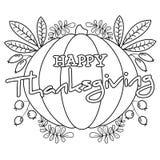 ` Feliz de la acción de gracias del ` de la página que colorea stock de ilustración