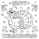 ` Feliz de la acción de gracias del ` de la página que colorea ilustración del vector